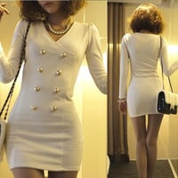 Korean Womens Mini Dress Solids Sexy V-neck Double Breasted