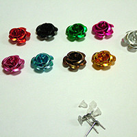 17 mm Metal Rose Cabochons, 10 Colors, Ear Posts or Bobby Pin Blanks, DIY Kit