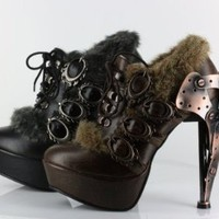 Amazon.com: METROPOLIS HADES MORGANA GOTH STEAMPUNK VICTORIAN GEARS LACE-UP OXFORD PLATFORM METAL HEELS: Shoes
