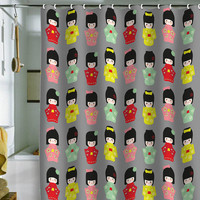 Nicole Martinez Kokeshi Pattern Shower Curtain