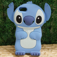 Blue 3D Stitch Silicone Soft Cover Case For For Apple iPod Touch 5 /5G