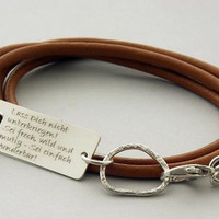 Captured 3.... with your personalized Custom Words, Name, Phrase or inspirational quote ....sterling silver/leather bracelet