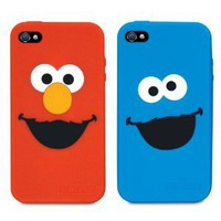 iSound ISOUND-4668 Sesame Street Elmo and Cookie Monster Silicone Case for iPhone 4/4S - 2 Pack - Retail Packaging - Red/Blue
