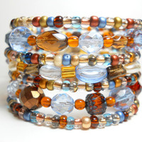 Memory Wire Bracelet Blue and Brown Stacking Beaded Wrap Bracelet