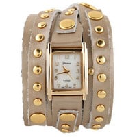 Wraparound Leather Watch - Metallic Watch - Studded Watch - $32.00