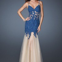 Spaghetti Strap V-neck Blue Lace Formal Evening Party Dresses Prom Pageant Dress