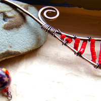 Rustic Red bookmark oxidized metalwork copper by ElephantBeads