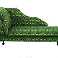 Green Feather Print Chaise Longue Chair by ZEDHEAD on Etsy