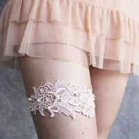 Lace Garter in Pale Pink with Pearls Limited Edition by pishposhes