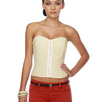 Beautiful Cream Bustier - Bustier Top - Lace Bustier - $37.00