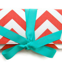 SALE Coral Chevron Stripe with Tiffany Blue ALEXIS Clutch Sale