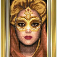 Venetian Girl With Masquerade Mask Cross Stitch Pattern | Los Angeles Needlework