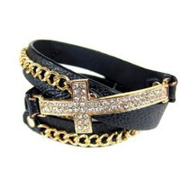 Amazon.com: Cross Gold with Black Leather Rhinestones Wrap Around Bracelet: Jewelry