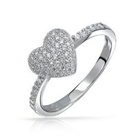 Amazon.com: Valentines Day Gifts Bling Jewelry Micro Pave Cubic Zirconia Heart Ring 925 Sterling Silver: Jewelry