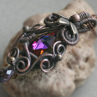 Alice in Wonderland  copper wire wrapped pendant by bodzastudio
