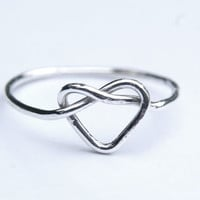 Sterling silver heart knot ring