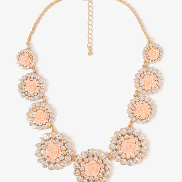 Rhinestoned Rosette Necklace