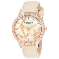Stuhrling Original Women's 520.1145S94 Vogue Audrey Verona Del Mar Swiss Quartz Mother-Of-Pearl Swarovski Crystal Beige Watch