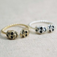 SKULL with GUNSHOT ring/ with twisted band, adjustable