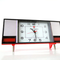 RED  Great Golden Roaster Hi Fi Style Big Alarm Clock by TheBIG8s