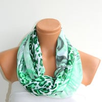 Women Fashion scarf Infinity Scarf,Loop Scarf,Circle Scarf, Green, Leopard Pattern chiffon fabric Scarf,Nomad Cowl. Leopard Pattern,