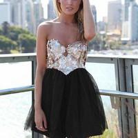 Strapless Dress with Sequin Bodice and Black Tulle Skirt