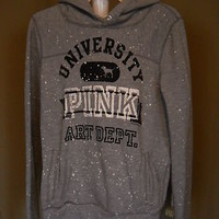 VICTORIA'S SECRET Pink Univ Art Dept Gray Hoodie Sweatshirt--Size Large--WOW!!