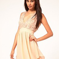 ASOS Skater Dress With Embellished Top at asos.com