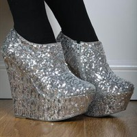 Silver Sequin wedge Shoe Boots Party Shoes from Shoetique