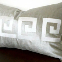 Greek Key silver velvet and Ivory silk Pillow Cover by thfabricate
