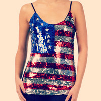 USA Sequin Flag Tank Blo...