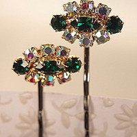 rhinestone bobby pin set emerald three stone by WakeUpTheAngel