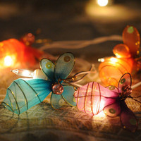 20 x romantic handmade Butterfly artwork string by cottonlight