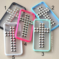 Cross silver Pyramid Studded iPhone 44s caseFrosted by timehot