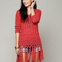 Free People Hooded Fringe Pullover - Available in Cherry and White