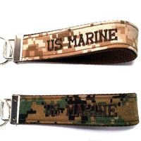US Marine Corp Woodland or Marpat,  Embroidered, Custom Key Fob, Wristlet Key Chain, Luggage Tag, Military Key Fob
