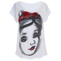 Red Sequin Snow White Tee for Women
