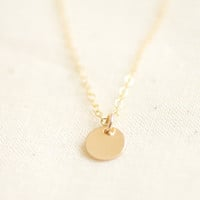 Tiny gold dot necklace - gold filled disc & chain - simple delicate jewelry by AmiesAmies