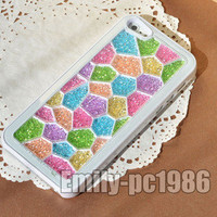 New Cube Rainbow Swarovski Element Crystal Phone Cover Case For iPhone 5 02#