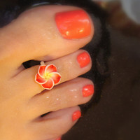 Toe Ring, Polymer, Red, Petals, Flower, Bead Toe Ring