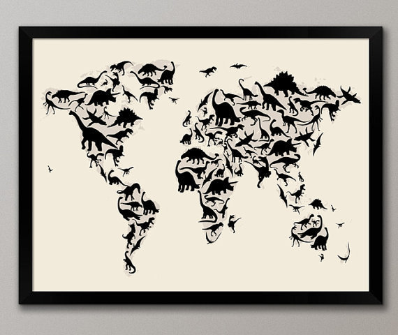 Dinosaur Map of the World Map Art Print 18x24 on Etsy