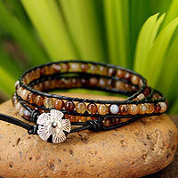 Agate wrap bracelet, Forest Flower