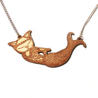 MERMAID CAT NECKLACE Birch Wood laser cut from a by ShopMissElla
