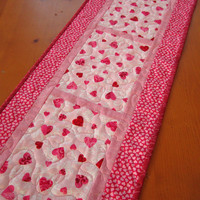Valentine's Quilted Table Runner - $44.00 - Handmade Crafts by PatchworkMountain