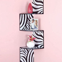 ZEBRA BLACK PURPLE ZIGZAG CORNER WALL STORAGE WOOD SHELF ORGANIZER DISPLAY DECOR