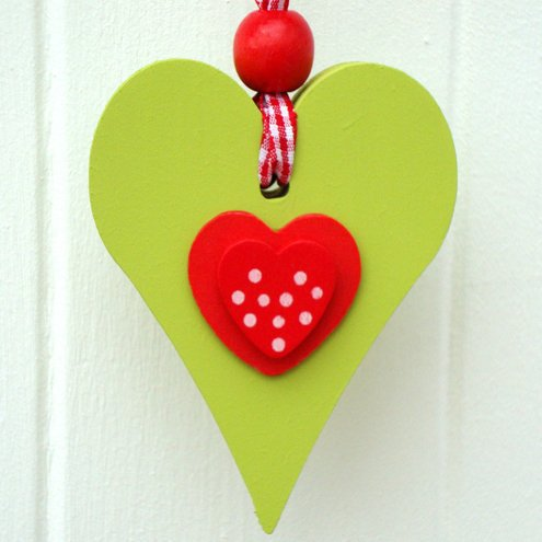 Small Wooden Chunky Heart - Red and Green | Luulla