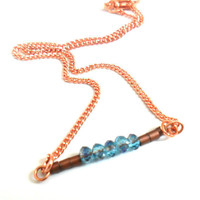 Anklet copper chain blue horizon faceted crystal beads by Daniblu