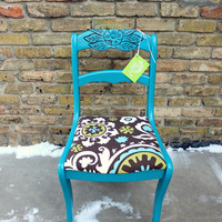 Tell City Upholstered Chair painted teal by NouvelleVieFurniture