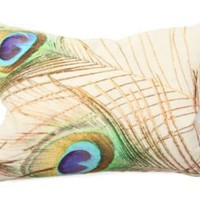 One Kings Lane - Casual Home - 14x20 Peacock Pillow, White/Gold