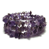 Natural Amethyst Gemstone Chip Bracelet - Violet Plum Purple Glowing Wine